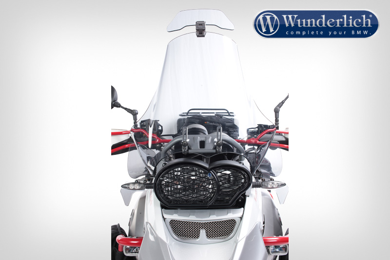 headlight protection grille with visor